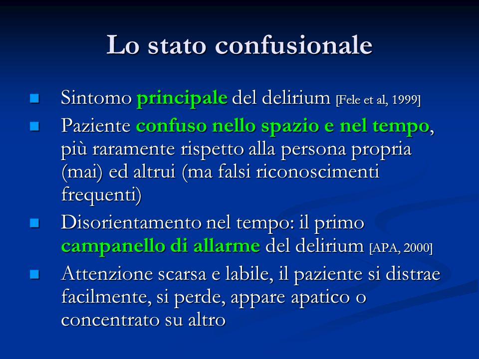 Lo stato confusionale Sintomo principale del delirium [Fele et al, 1999]